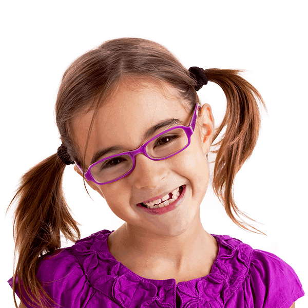 Little girl pig tails glasses gap teeth smiling
