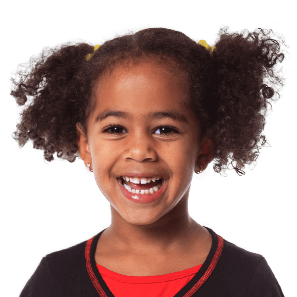 Little girl pig tails curly hair smiling