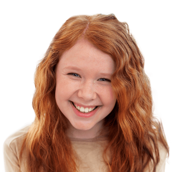 Young girl red head smiling